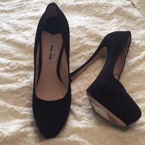 Miu miu black suede heels